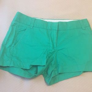 Jcrew green broken in chino shorts. Size 0